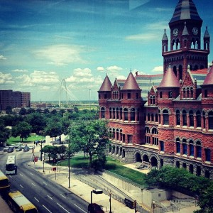 Dallas' Old Red Courthouse (r) and Frank Crowley Criminal Justice Courts (l). Photo by Holly Behl.